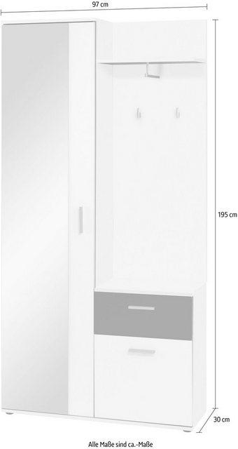 Garderoben Sets - byLIVING Kompaktgarderobe »Jakob« mit großem Spiegel und Ablage, Breite 97 cm  - Onlineshop OTTO