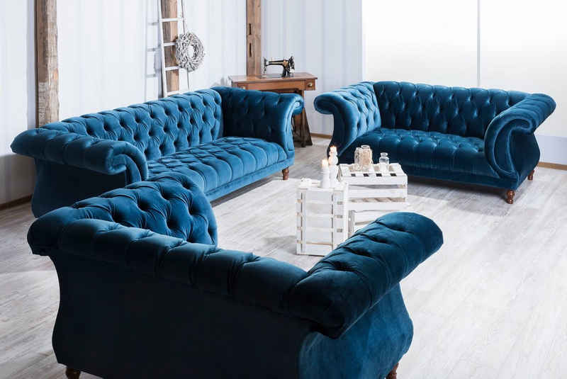 Max Winzer® Chesterfield-Sofa »Isabelle«, mit edler Knopfheftung & gedrechselten Füßen in Buche Nussbaum, Breite 260 cm