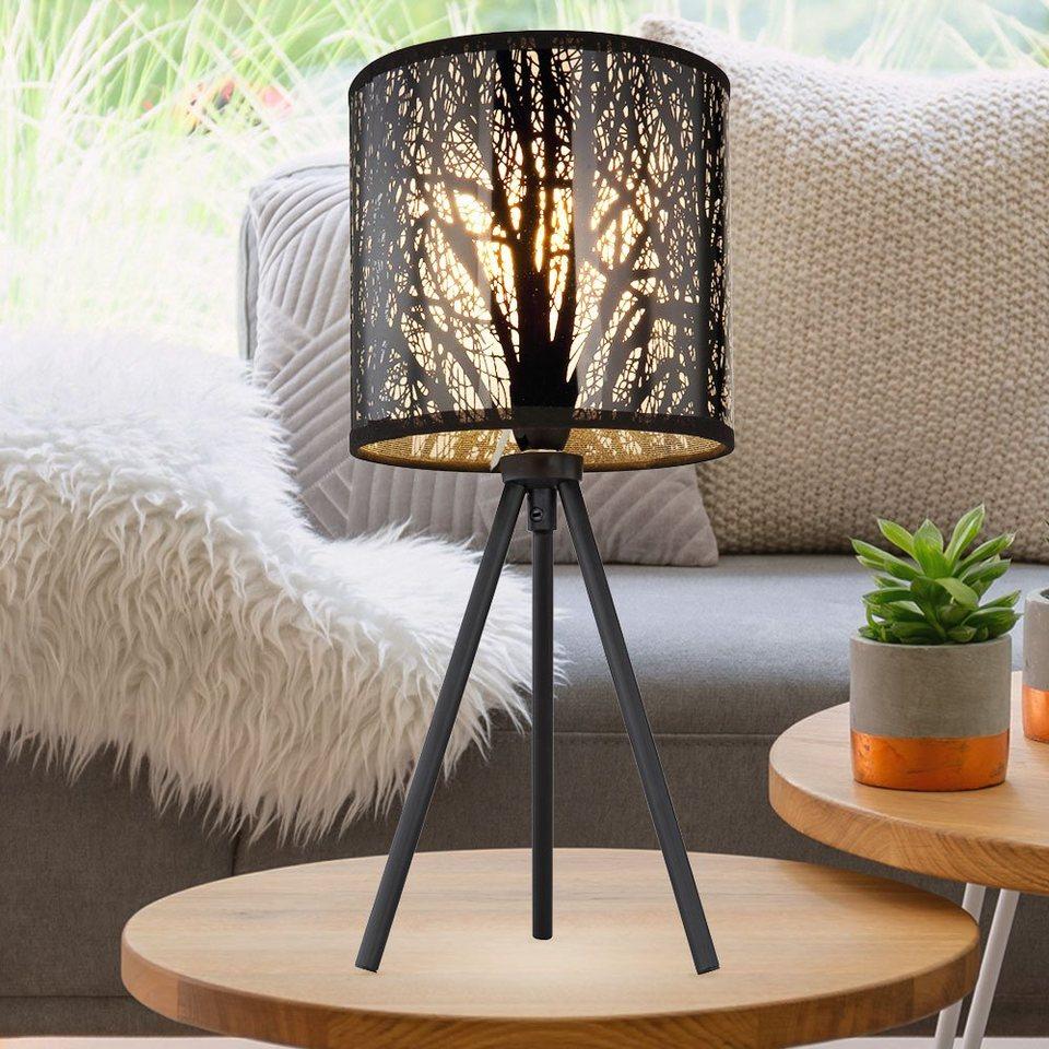 etc shop Tischleuchte, Design Schreib Tisch Leuchte Ess Zimmer Beistell  Stoff Lampe Muster schwarz im Set inkl. LED Leuchtmittel online kaufen    OTTO
