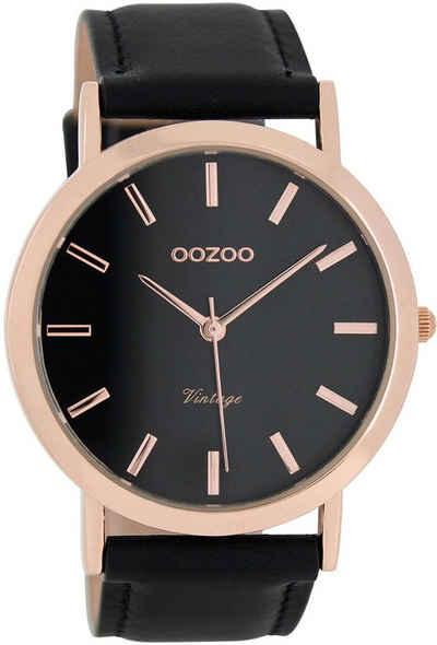 OOZOO Chronograph »UOC8119 Oozoo Armbanduhr Herren Vintage Series«, (Analoguhr), Herren Armbanduhr rund, Lederarmband schwarz, Fashion