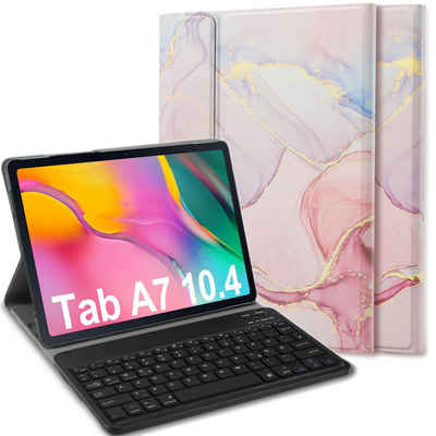 IVSO »Tastatur Hülle für Samsung Galaxy Tab A7 (Deutsches QWERTZ),« Tablet-Tastatur (Schützhülle und Bluetooth Abnehmbarer Tastatur mit 7 Farbige Hintergrundbeleuchtung für Samsung Galaxy Tab A7 2020 10.4 Zoll, Rosa)