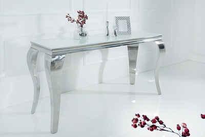 riess-ambiente Konsolentisch »MODERN BAROCK 140cm weiß«, Tischplatte aus Opalglas · Edelstahl-Beine
