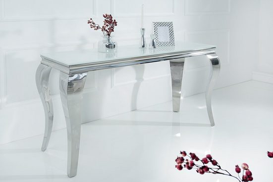 riess-ambiente Konsolentisch »MODERN BAROCK 145cm weiß«, Beistelltisch · Opalglas-Tischplatte · Flur · Edelstahl-Beine · Esszimmer