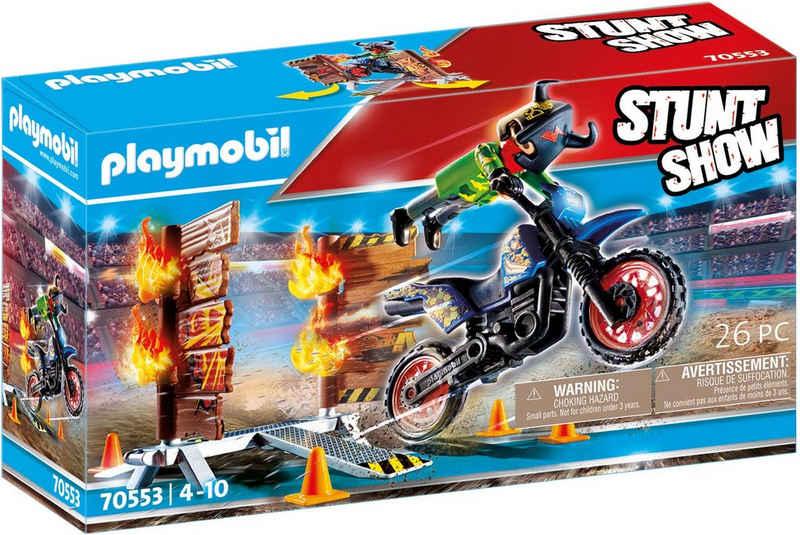 Playmobil® Konstruktions-Spielset »Motorrad mit Feuerwand (70553), Stuntshow«, (26 St)