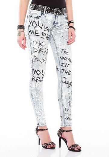 Cipo & Baxx Slim-fit-Jeans in handbemalter Optik in Slim Fit