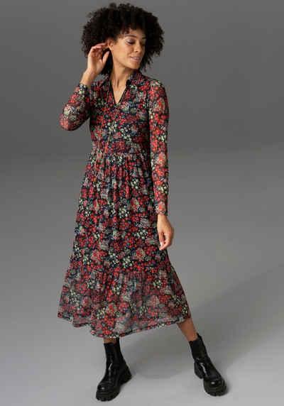 Aniston CASUAL Blusenkleid mit farbenfrohem Blumendruck - NEUE KOLLEKTION