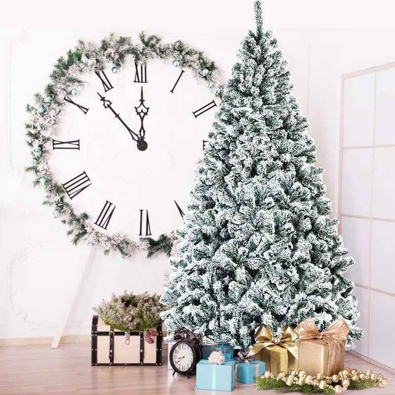 COSTWAY Künstlicher Weihnachtsbaum »Tannenbaum, Christbaum, Kunstbaum Weihnachten«, 225 cm, mit PVC Schnee Nadeln, inkl. Metallständer, Klappsystem