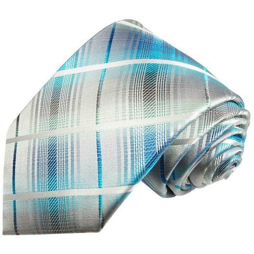 Paul Malone Krawatte »Designer Seidenkrawatte Herren Schlips modern gestreift 100% Seide« Schmal (6cm), türkis grau 2027
