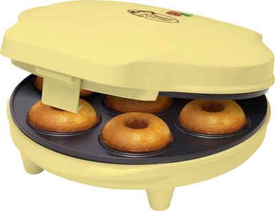bestron Donut-Maker Sweet Dreams, 700 W, im Retro Design, Antihaftbeschichtung, Farbe: Gelb