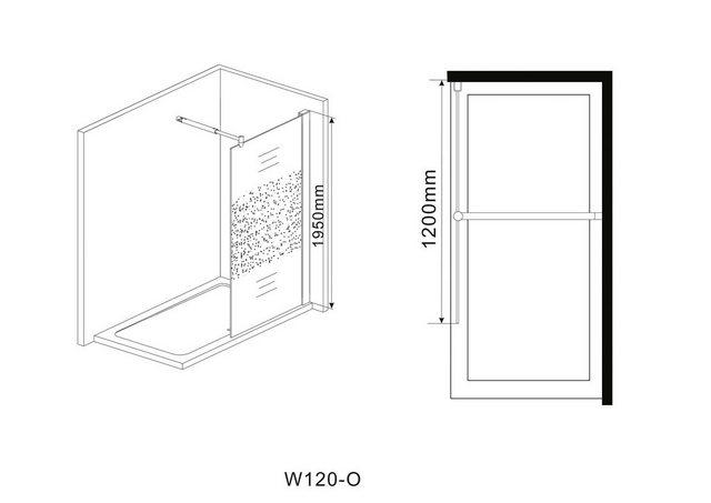 Duschen und Zubehör - welltime Duschwand »Duschabtrennung«, Einscheibensicherheitsglas, Breite 120 cm, mit Dekor  - Onlineshop OTTO