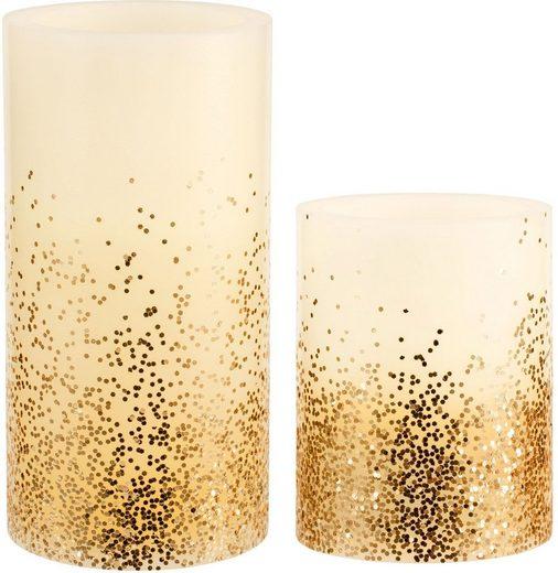 Pauleen LED-Kerze »Golden Glitter« (Set, 2-tlg), Wachskerze, Timer, elfenbein/Glitzer gold