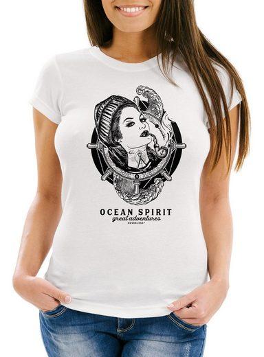 Neverless Print-Shirt »Damen T-Shirt Woman Sailor Captain Pin-Up Kapitän Slim Fit Neverless®« mit Print