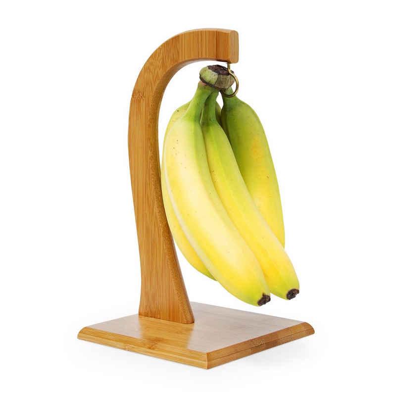 relaxdays Obstschale »Bananenhalter SHELDON aus Bambus«, Bambus