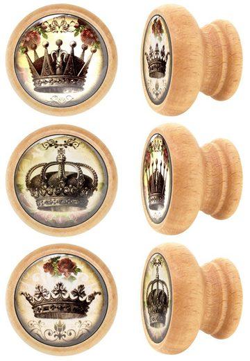 Lashuma Möbelgriff »Krone« (Spar-Set, 6-St), Möbel Knöpfe aus Holz mit Kronen-Motiv, Schrankgriffe 4 cm Ø