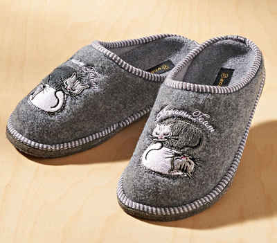 dynamic24 Hausschuh Damen Pantoffel Katze Filz Pantolette Haus Latschen Schuhe grau