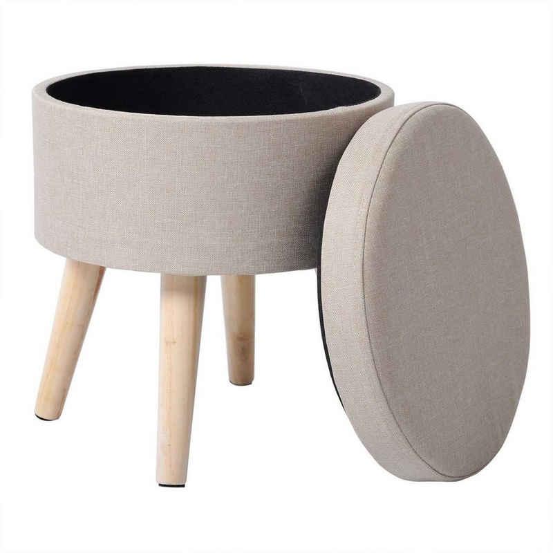 Woltu Sitzhocker »SH08« (1 St), Sitzhocker mit Stauraum Fußhocker Aufbewahrungsbox, Deckel abnehmbar, Gepolsterte Sitzfläche aus Leinen, Massivholz