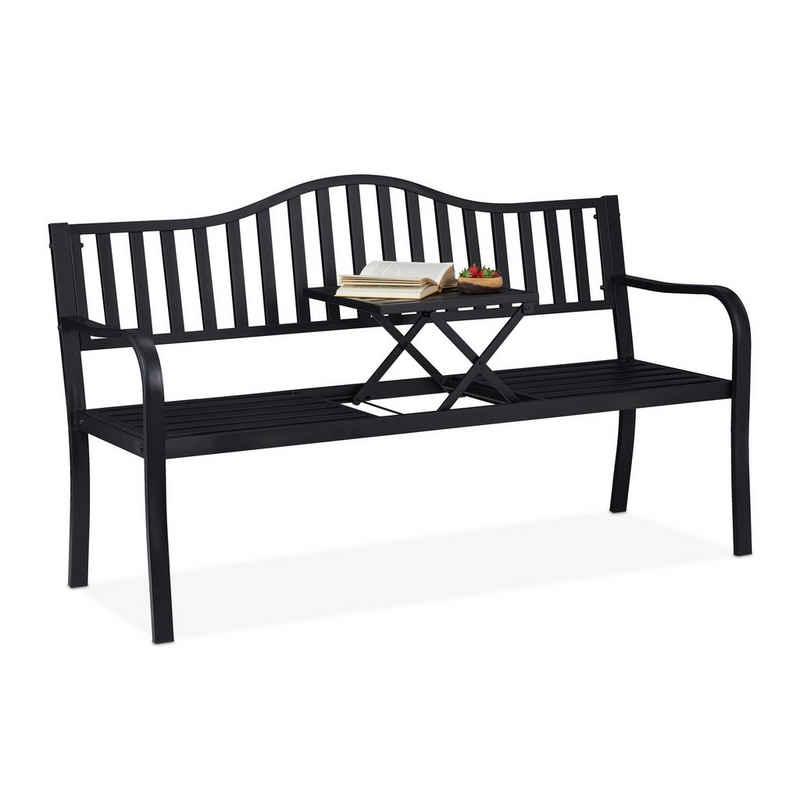 relaxdays Gartenbank »Gartenbank mit Klapptisch«, mit ausklappbarem Tisch