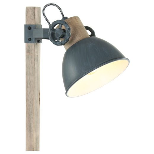 click-licht Deckenspot »Tischleuchte Gearwood in Grau und Braun E27«, Deckenstrahler, Deckenspot, Aufbaustrahler