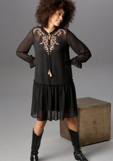 Aniston CASUAL Blusenkleid mit aufwändig besticktem Vorderteil