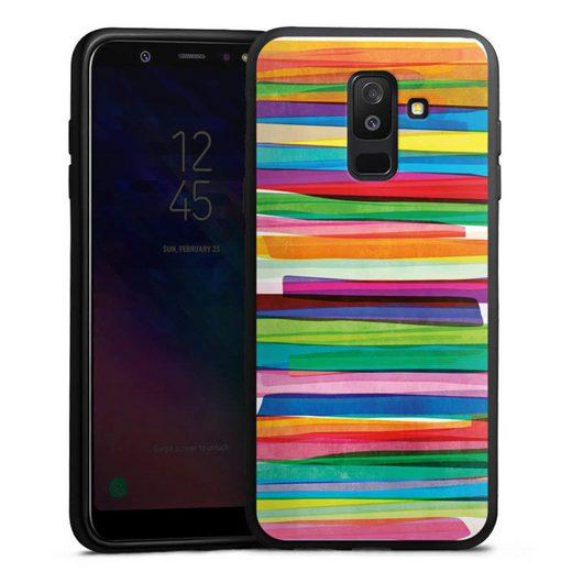 DeinDesign Handyhülle »Colorful Stripes1« Samsung Galaxy A6 Plus Duos (2018), Hülle Streifen Wasserfarbe