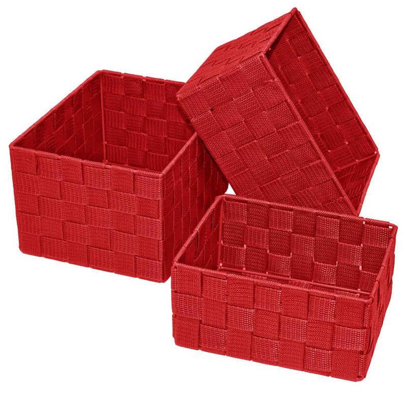 Lashuma Aufbewahrungskorb (3 Stück), 1x Badkorb 19x14x10 cm, 1x Korb 21x16x12 cm, 1x Regalkorb 24x18x14 cm
