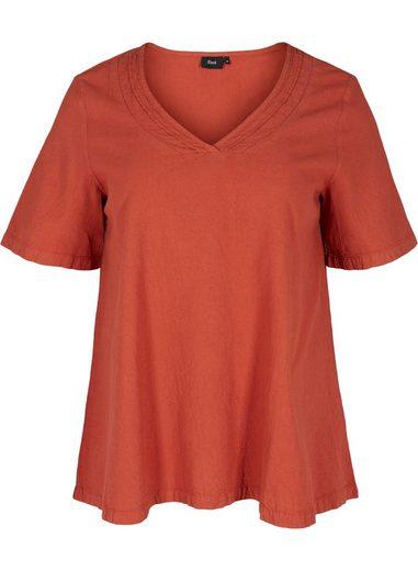 Zizzi Kurzarmbluse Große Größen Damen Bluse aus Baumwolle mit A-Linie und V-Ausschnitt
