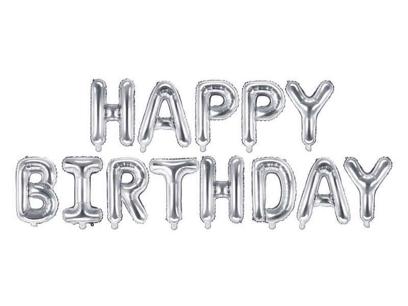 partydeco Luftballon, Folienballon Happy Birthday, silber