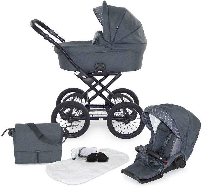 Knorrbaby Kombi-Kinderwagen »Siena, Anthrazit mit Punkten«, (9-tlg), Gestell faltbar; Made in Europe; Kinderwagen