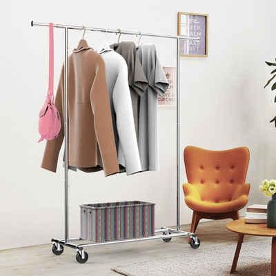 Yaheetech Kleiderständer, Metall Kleiderstange, Garderobe, Garderobenständer auf Rollen, klappbar, Länge 108-168cm, max. Belastbarkeit 90 kg