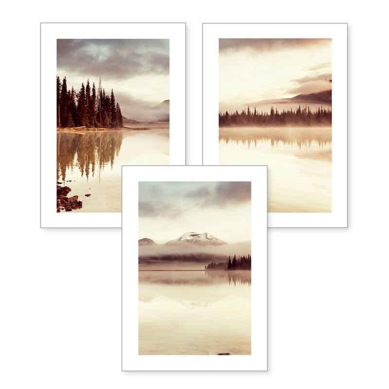 Kreative Feder Poster, Landschaft (Set, 3 Stück), 3-teiliges Poster-Set, Kunstdruck, Wandbild, optional mit Rahmen, wahlw. in DIN A4 / A3, 3-WP109