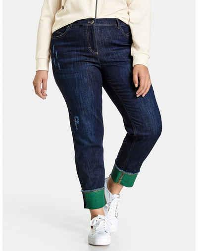 Samoon Stretch-Jeans »Betty Jeans mit farbigem Saumaufschlag« (1-tlg) Schmale Hose