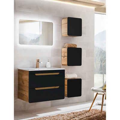 Lomadox Badmöbel-Set »NEW-LUTON«, (Spar-Set, 6-St., 6-tlg), in seidenmatt anthrazit mit Wotaneiche mit 80cm Keramik-Waschtisch & LED-Spiegel, B/H/T ca. 130/200/46cm