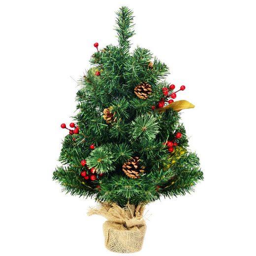 COSTWAY Künstlicher Weihnachtsbaum »Weihnachtsbaum«, 60cm Künstlicher Mini Weihnachtsbaum, Tisch Tannenbaum mit Kiefernzapfen, Roten Beeren & Blätterdekoration, Christbaum 80 PVC Spitzen, Kunstbaum Weihnachten mit Zementbasis
