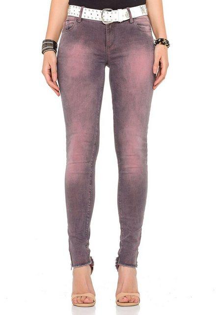 Hosen - Cipo Baxx Bequeme Jeans »inklusive Gürtel« im Vintage Look › rosa  - Onlineshop OTTO