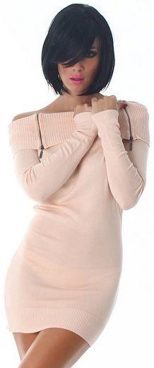 Charis Moda Strickkleid »Longpullover Ministrickkleid Carmenkragen Zipperstyle«