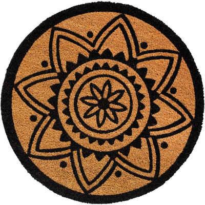 Fußmatte »Runde Kokosmatte Indoor Mandala Design & Blumen 60x60 cm«, matches21 HOME & HOBBY, rund, Höhe 15 mm