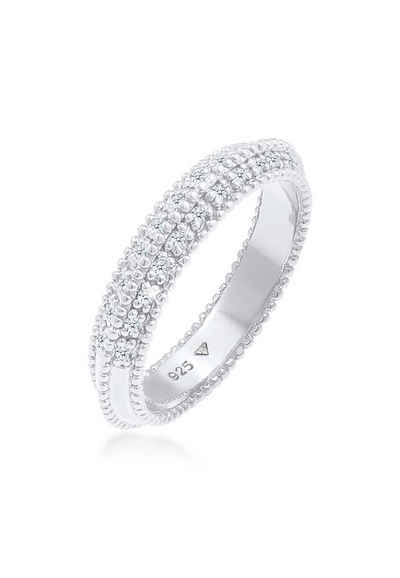 Elli Premium Diamantring »Diamant (0.12 ct) Kugeln Bandring 925er silber«, Microsetting