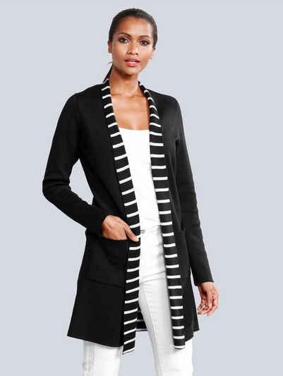 Alba Moda Strickjacke mit dekorativem Streifen-Dessin im Innenteil