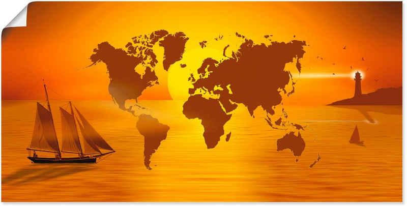 Artland Wandbild »Weltumsegelung«, Landkarten (1 Stück), in vielen Größen & Produktarten -Leinwandbild, Poster, Wandaufkleber / Wandtattoo auch für Badezimmer geeignet