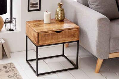 riess-ambiente Nachttisch »IRON CRAFT 45cm natur / schwarz«, Massivholz · Beistelltisch · mit Schublade · Industrial · Mangoholz