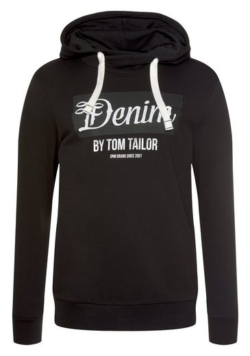 TOM TAILOR Denim Kapuzensweatshirt mit großem Logo-Print