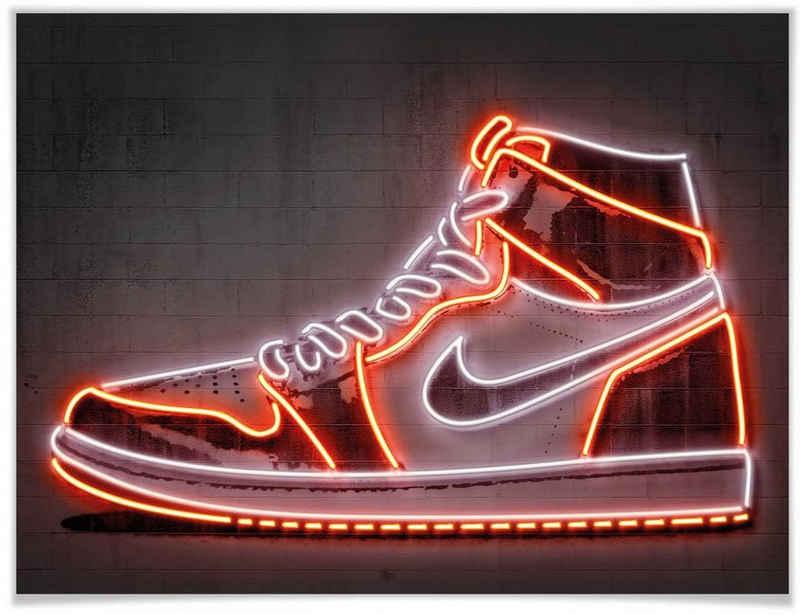 Wall-Art Poster »Mielu Nike Schuh Neon Sneaker«, Schuh (1 Stück), Poster, Wandbild, Bild, Wandposter