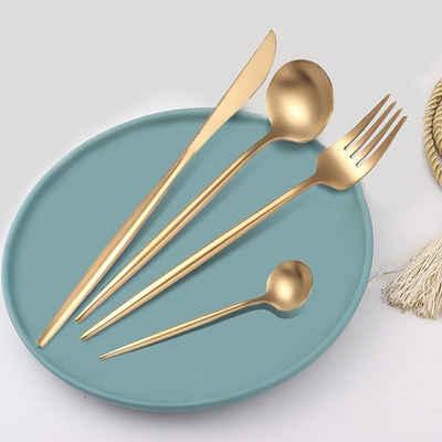 Home safety Besteck-Set »72tlg.Besteck Set aus Edelstahl Gold Tafelbesteck Set für 18Personen inkl. Messer, Gabel, Löffel, Teelöffel«, Edelstahl 18/0