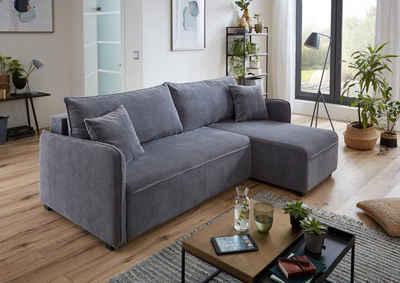 ATLANTIC home collection Ecksofa, mit Federkern, Bettfunktion, Bettkasten und beidseitig montierbarer Recamiere