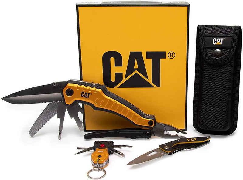 CATERPILLAR Taschenmesser »Multitool BOX 3er Set mit 9 in 1 Multi-Tool, Klapp«, (Set), 9 in 1 Multifunktionswerkzeug mit Aufbewahrungstasche, Klappmesser und Schlüsselanhänger mit LED und 4 Werkzeugen