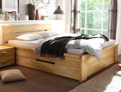 expendio Stauraumbett »Caspar«, Schubkastenbett 200x200cm hochwertiges Massivholzbett aus Kernbuche geölt mit 2 Schubladen