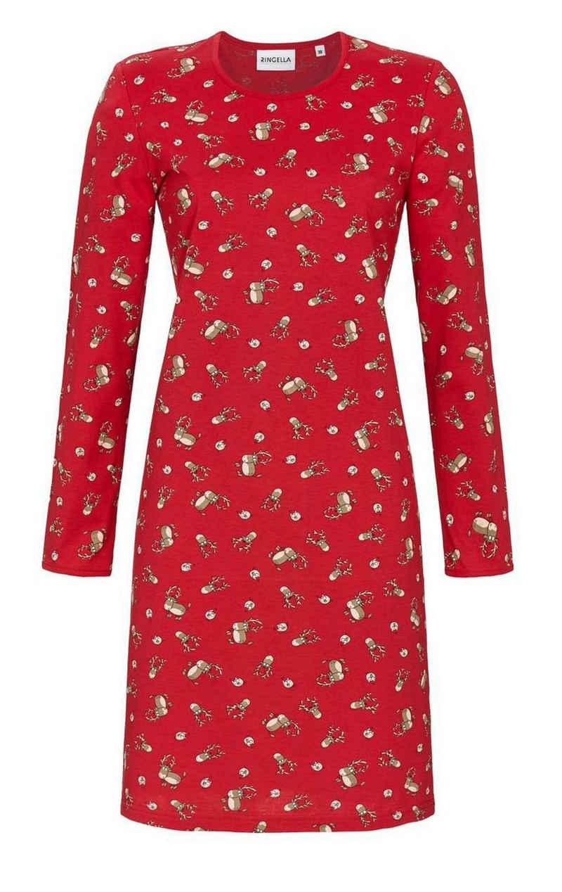 Ringella Nachthemd »Ringella Damen Nachthemd mit Elchen« Baumwolle