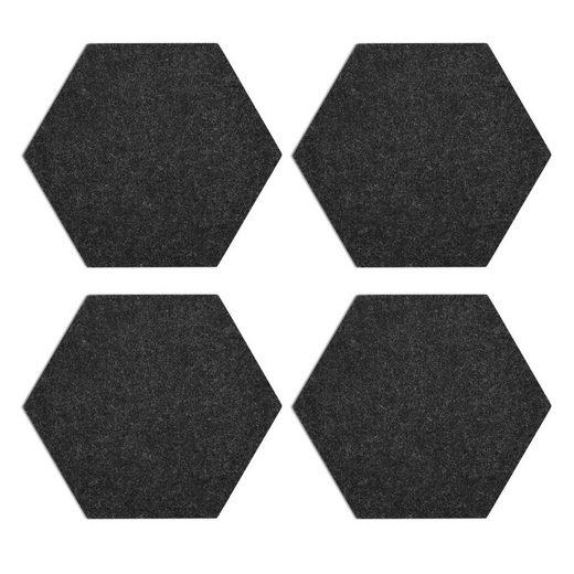 Navaris Pinnwand, Filz Memoboards Set sechseckig - 4x Filzboard 20 x 17 x 1,5cm mit Stecknadeln und Klebeband - für Küche und Büro