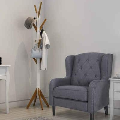 style home Garderobenständer, Kleiderständer acht Haken, Höhe: 178cm, Weiß und Bambus, Holz