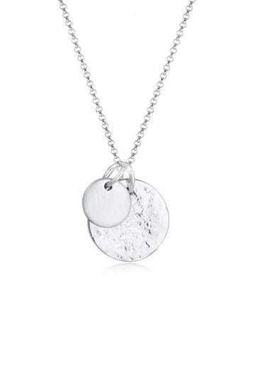 Elli Kette mit Anhänger »Plättchen Münzen Organic Look 925 Silber«